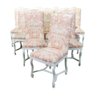 Vintage Mid Century Louis XV Style Dining Side Chairs- Set of 10 For Sale