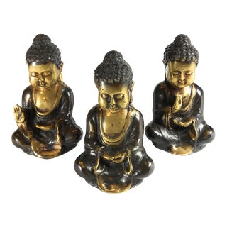 Bronze Baby Buddha Figurines - Set of 3