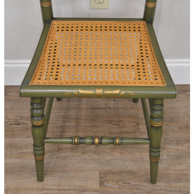 Hitchcock Green Painted George Washington Mt Vernon Cane Seat Side Chair For Sale - Image 11 of 13