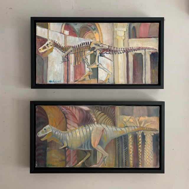 This pair of oil paintings depicts Sue, one of the most complete T-Rex skeletons ever discovered. Sue's skeleton is on...