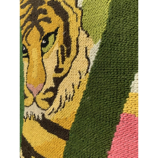 Jungle Fever!! Finely crafted, labor intensive needlepoint. Jungle themed - this Vintage Large Frameless Needlepoint piece...