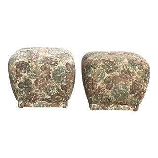 Karl Springer Style Souffle Ottomans or Poufs - a Pair For Sale