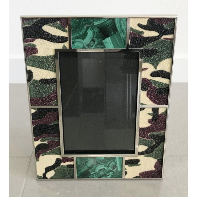 Camoflauge colored shagreen leather with malachite inserts and nickel-plated picture frame by Fabio Ltd Height: 10.5...