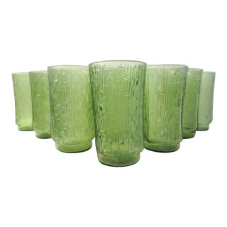 Green Irridescent Bamboo Design Tumblers - Set of 7 For Sale