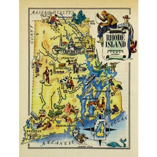 Vintage 1946 Rhode Island Pictorial Map For Sale