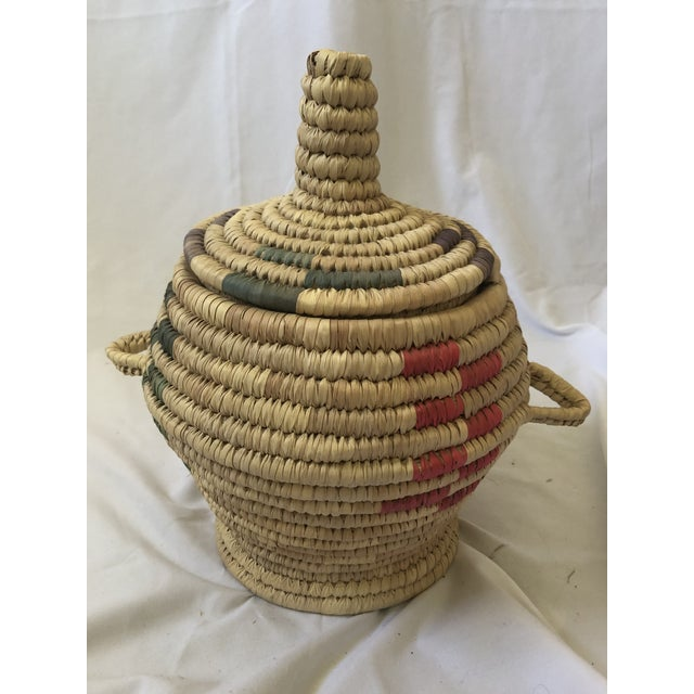"""Textile Vintage Hand Woven Grass Basket """"Jar With Lid"""" For Sale - Image 7 of 7"""