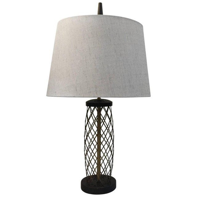 Royere Style Ebonized Oak and Brass Lattice Table Lamp - Image 7 of 7