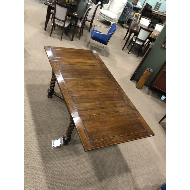 Dutch Oak Refectory Table With Large Barley Twist Legs For Sale - Image 4 of 12