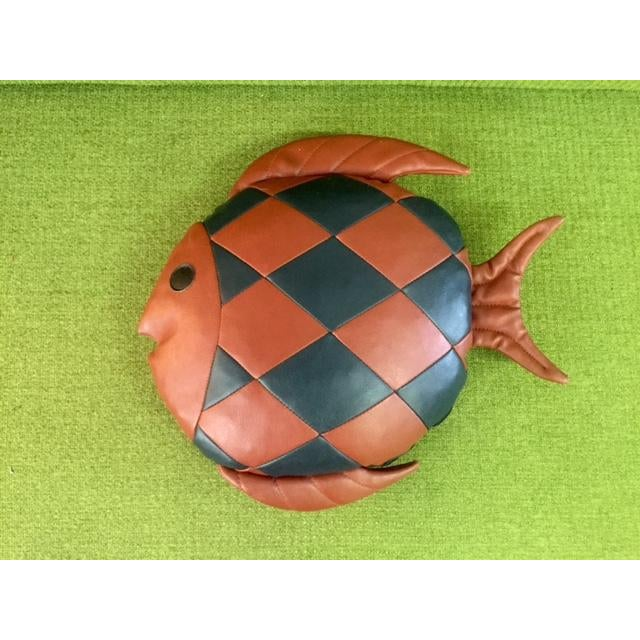 Vintage 1970's Leather Fish Pillow - Image 2 of 4