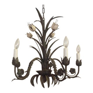 Vintage Tole Floral Chandelier For Sale