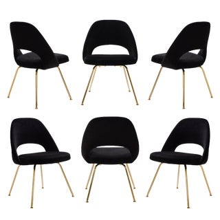 Original Vintage Saarinen Executive Armless Chairs Restored in Noir Velvet, Custom 24k Gold Edition - Set of 6 For Sale