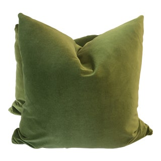"Bright Olive Cotton Velvet 22"" Pillows-A Pair For Sale"