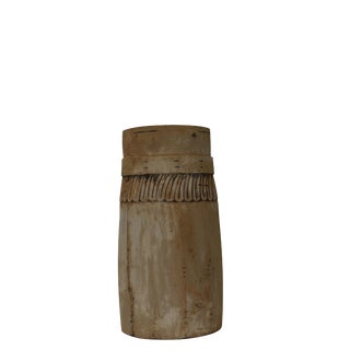 Bleached Carved Modern Wood Vase For Sale