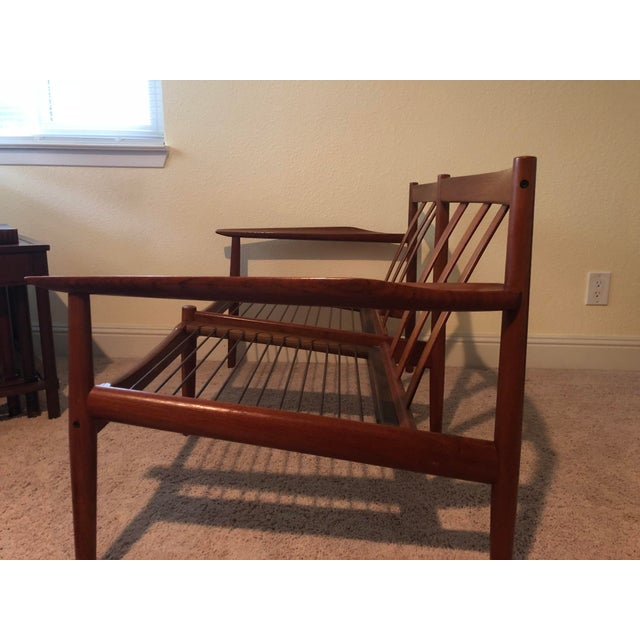 Mid-Century Modern Scandinavian Teak Loveseat For Sale - Image 4 of 5