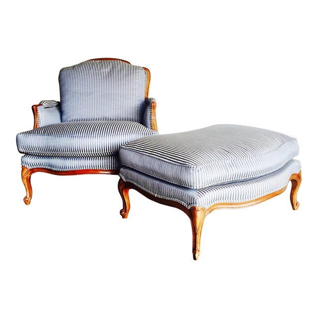 Vintage Heritage Bergere Chair & Ottoman - Image 1 of 10