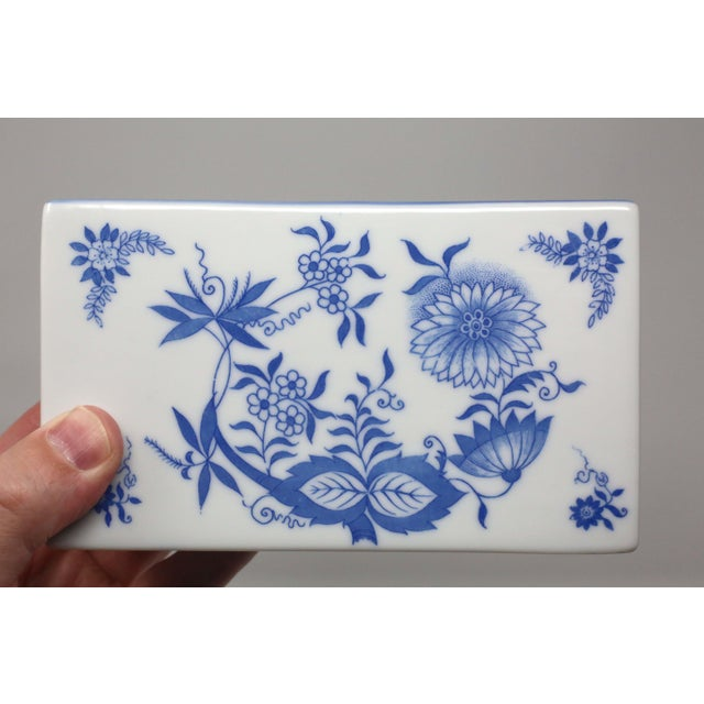 Japanese Blue and White Porcelain Flower Brick For Sale In Tampa - Image 6 of 9