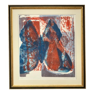 Vintage Modernist Figurative Serigraph Woman and Butterfly 1967 For Sale