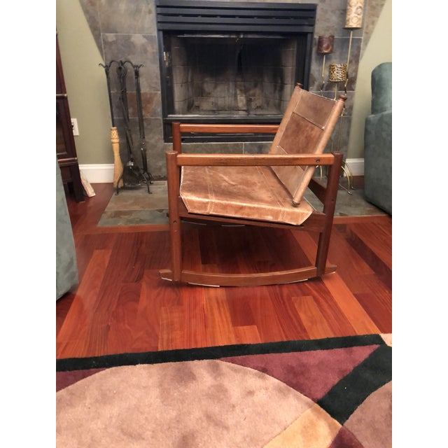 Contemporary 1950s Vintage Michael Arnoult Sling Chair Rocker For Sale - Image 3 of 12