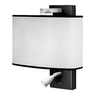 Satin Black and Aluminium Wall Light With Led Reading Light and Shade For Sale