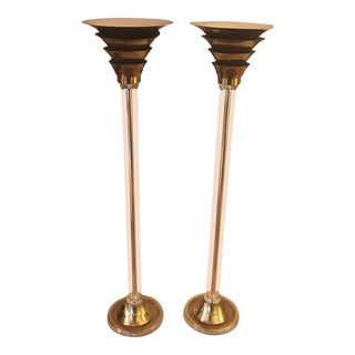 1970s Art Deco Lucite & Brass Torchere Lamps - a Pair For Sale