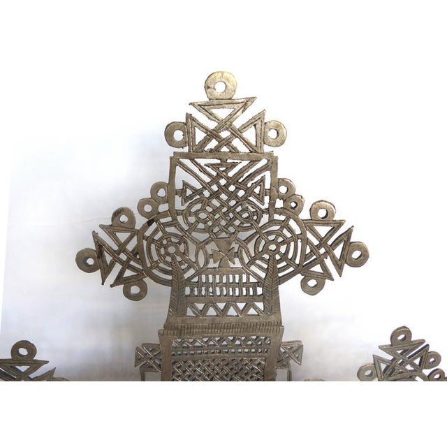 Religious 20th Century Ethiopian Coptic Cross on Lucite Base For Sale - Image 3 of 7