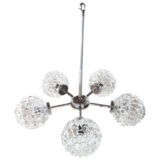 1960s Five-Globe Glass and Chrome Sputnik Chandelier in the Style of Kalmar For Sale