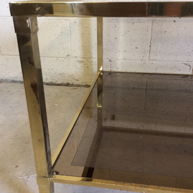 1970s Italian Brass & Smoke Glass Two Tiered Coffee Table For Sale - Image 4 of 10