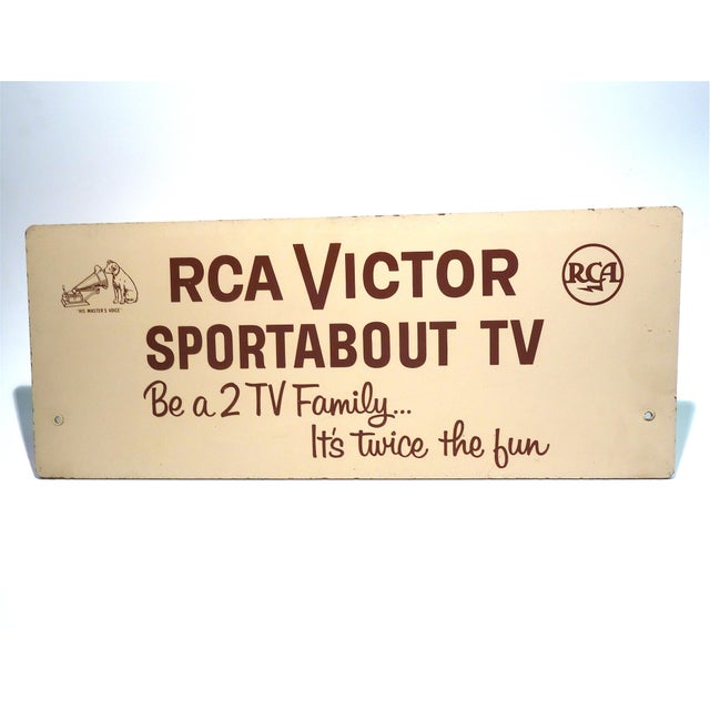 fine mid 20th century rca portable tv advertising sign brown over