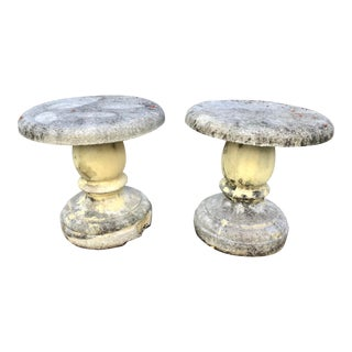Cast Stone Garden Stools. - a Pair For Sale