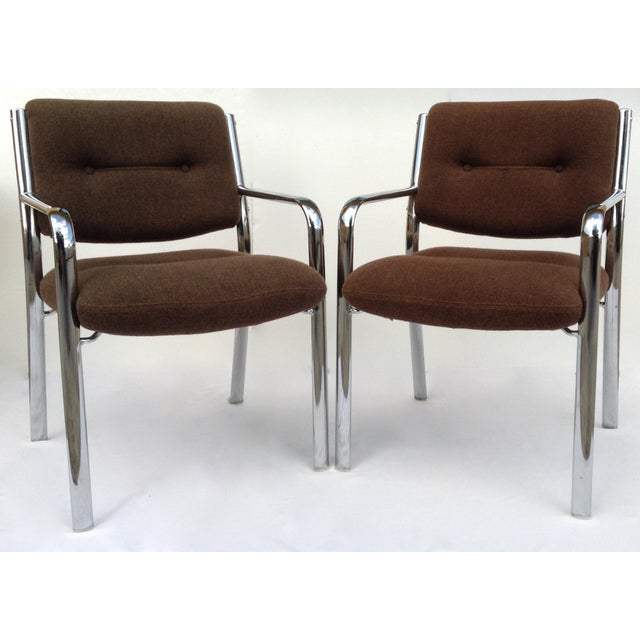 Vintage Chrome Arm Chairs w/Knoll Textile - A Pair - Image 2 of 11