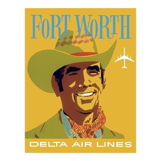 Forth Worth Travel Poster Matted and Framed