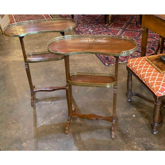 Mahogany Kidney Shaped Tables With Reticulated Brass Edge - a Pair For Sale - Image 9 of 10