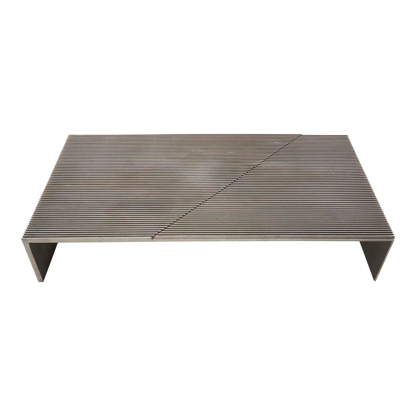 Mid Century Modern Cast Ribbed Aluminum Diagonal Pattern Coffee Table