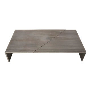 Mid-Century Modern Cast Ribbed Aluminum Diagonal-Pattern Coffee Table For Sale