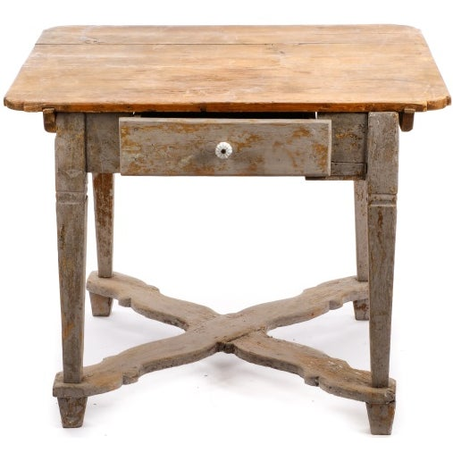 19th Century Gustavian Table With Marble Top and 18th Century Gustavian Farm Table - Image 2 of 10