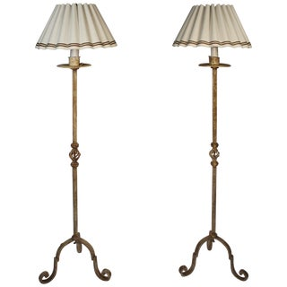 Wrought Iron Floor Lamps With Custom Scalloped Linen Shades-A Pair For Sale