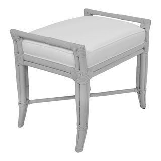 Small Malacca Bench - Light Gray For Sale