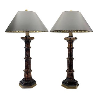 Mid Century Chapman Tortoise Shell Art Glass Lamps With Black and Gold Shades - a Pair For Sale