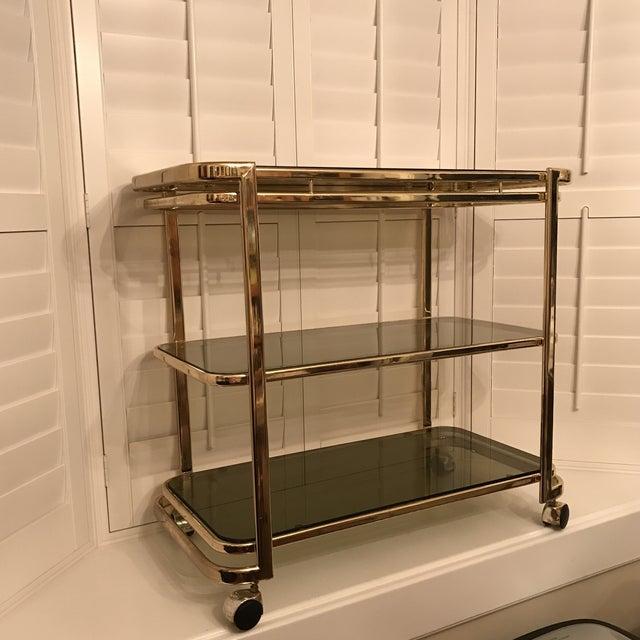 Mid-Century Brass & Smoke Glass Bar Cart - Image 4 of 10