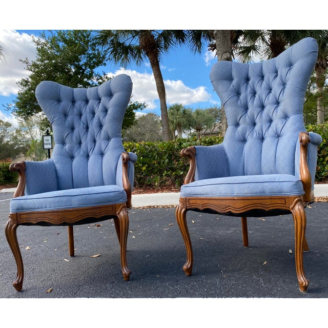 Sky Blue Vintage Butterfly Tufted Wing Back Bergere's For Sale - Image 8 of 8