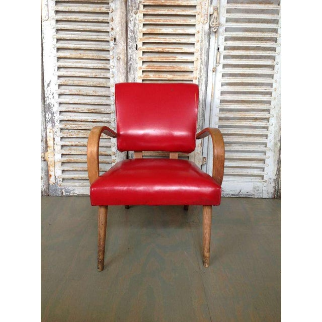 American 1950s Red Vinyl Armchair - Image 3 of 8