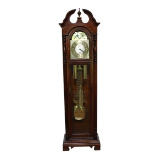 Sligh Cherry Tall Case Grandfather Clock For Sale