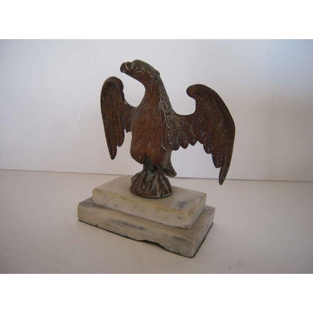 Patriotic Brass American Eagle Sculpture on Marble Base - Image 4 of 9