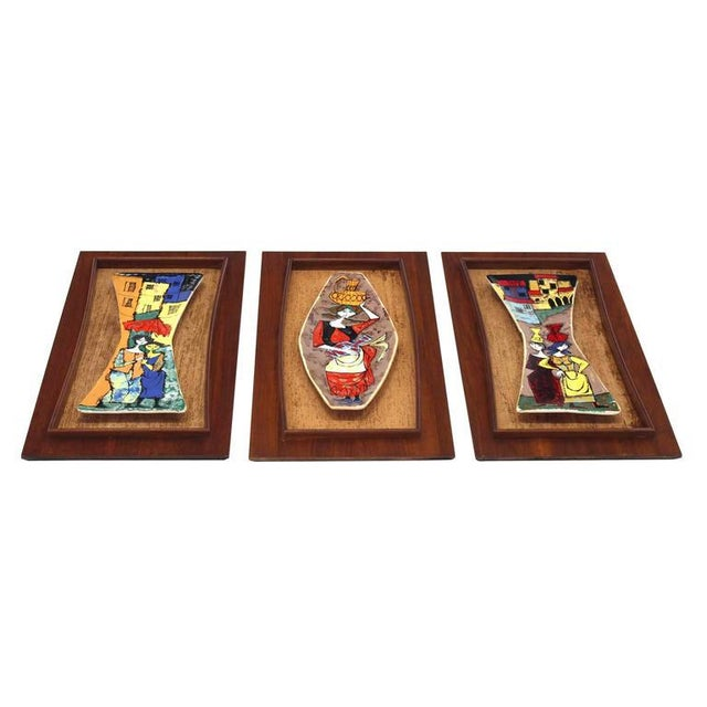 Early 20th Century Set of Three Framed Art Tiles For Sale - Image 5 of 9