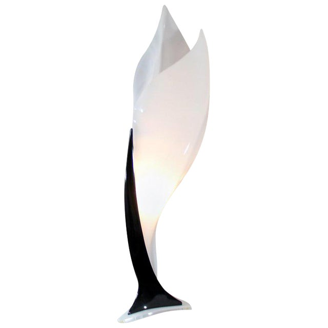 Contemporary Modern Black & White Acrylic Flower Table Lamp, 1980s For Sale