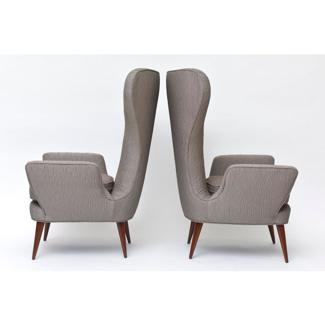 Pair of Italian Modern High Back Chairs, Italy For Sale In Miami - Image 6 of 11