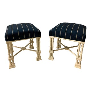 Pair Erwin Lambeth Chippendale Style Ottomans For Sale