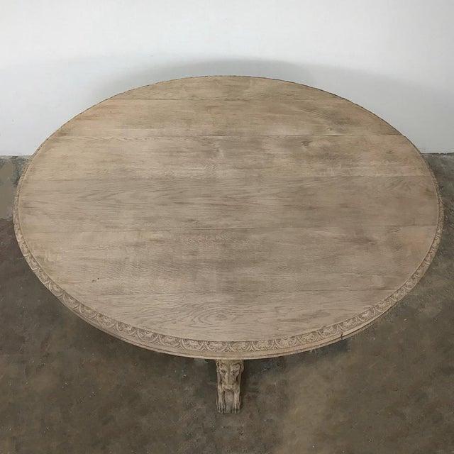 19th Century French Renaissance Stripped Oak Center Table With Hunting Dogs For Sale - Image 4 of 13