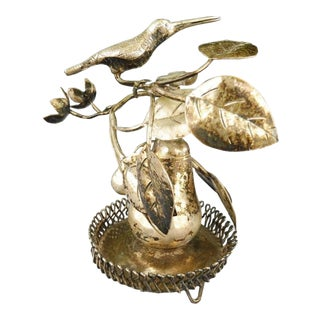 18th C Brazilian Colonial Silver Toothpick Holder Bird on a Pear Tree W Flowers Great Table Fare For Sale