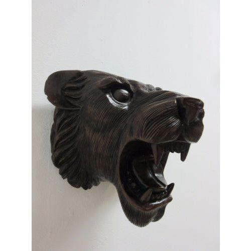 Hand Carved Mahogany Lion Tiger Head Wall Mount - Image 4 of 8